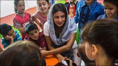 Priyanka meet with Syrian refugees children