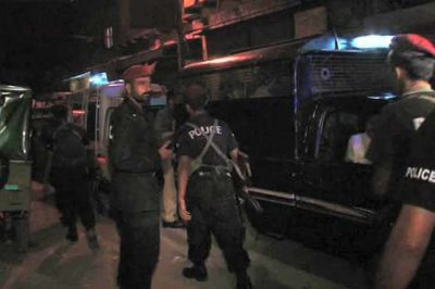 KARACHI: Two terrorists were killed in a tranfer of firing police operation in Steel Town