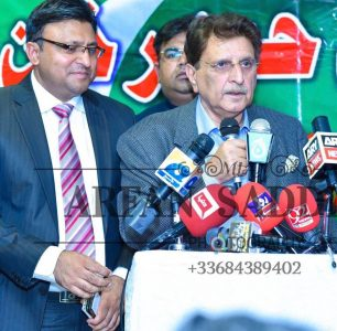 Raja Farooq, Haider,Khan, addressing, a, public, meeting, at, Paris, he, explored, the, freedom, movement,