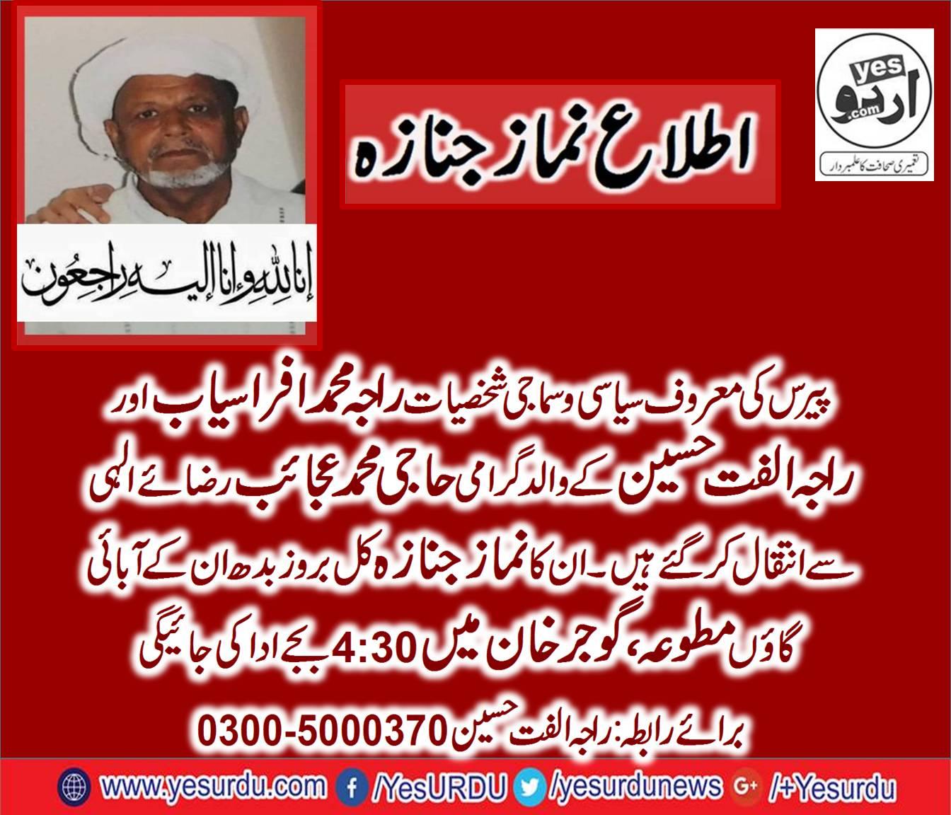Father of, Raja Afrasyab, Haji Ajaib Khan, Died, Today