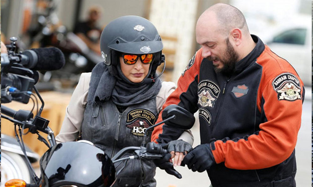 The trend of running a motorcycle in Saudi women, the perception of permission