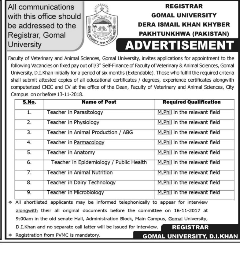 Jobs ,In, Gomal ,University, Dera Ismail Khan, 07 Nov 2018