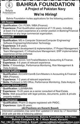 Jobs, In, Bahria, Foundation, Pakistan, Navy ,Project ,07 Nov 2018