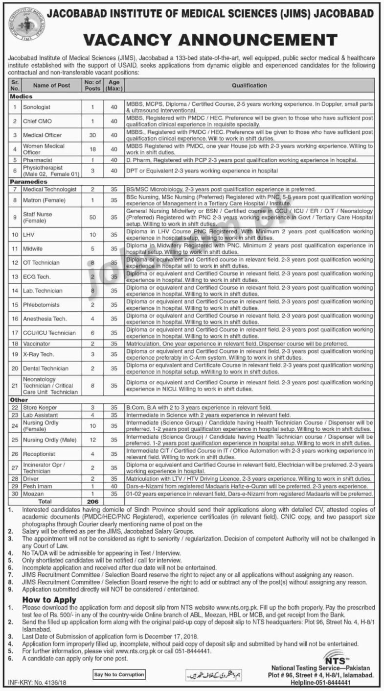 Jacobabad ,Institute, of ,Medical, Sciences ,(JIMS) ,Jobs ,2019, for, 206+, Posts, (Multiple, Categories, 3, December, 2018