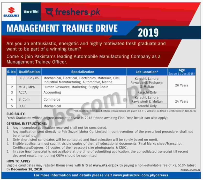 Suzuki, Pakistan ,Management ,Trainee ,Drive, 2019, (Multiple, Categories) ,(Multiple ,Cities), 3 ,December, 2018