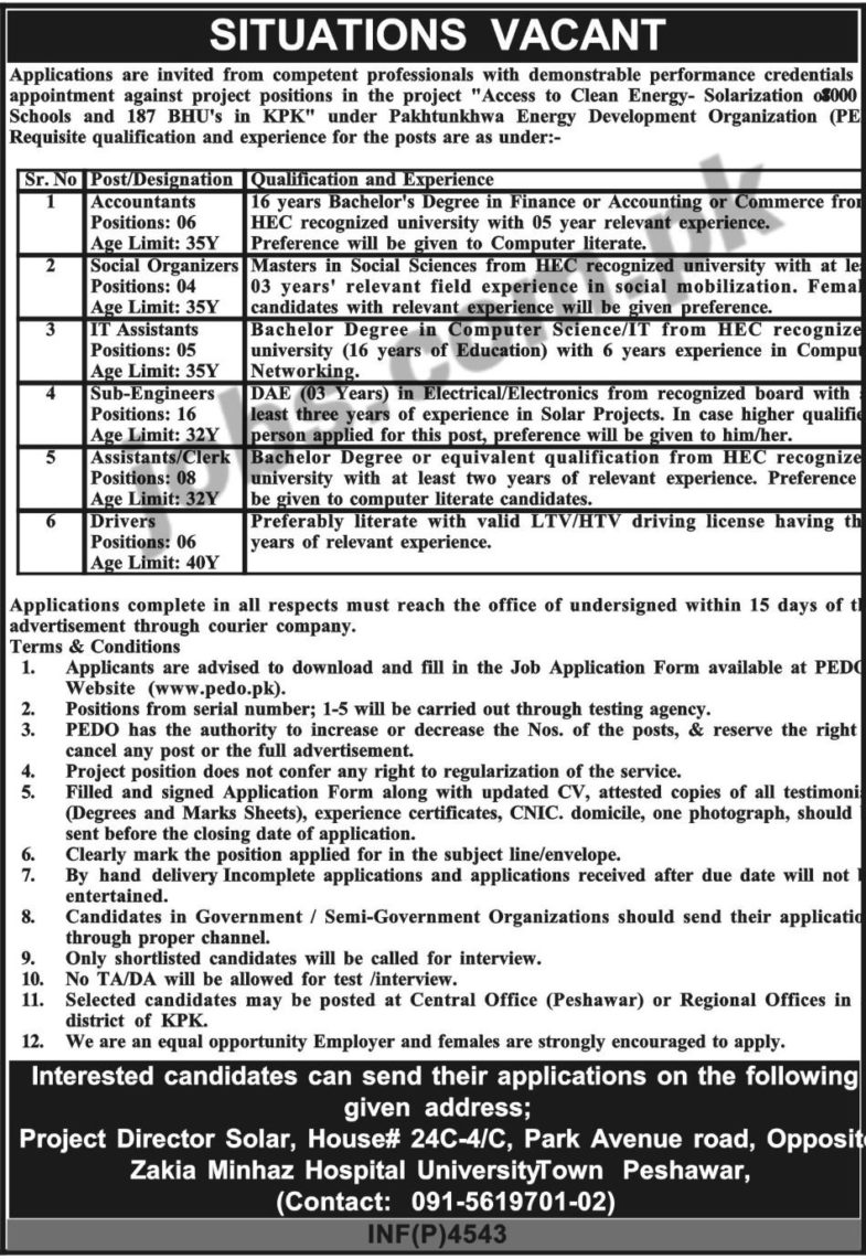 PEDO, KP, Jobs, 2019 ,for, 45+ ,IT ,Assistants, Sub-Engineers, Accountants, Social Organizers, Clerks, &, Drivers,3, December, 2018