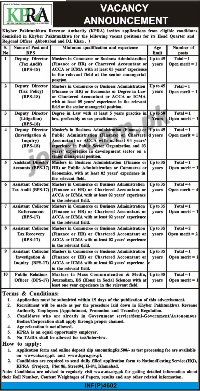 KP, Revenue ,Authority, (KPRA), Jobs ,2019 ,for, 14+, PROs, Assistant Collectors, Audit, &, Management ,Posts, 3 December, 2018