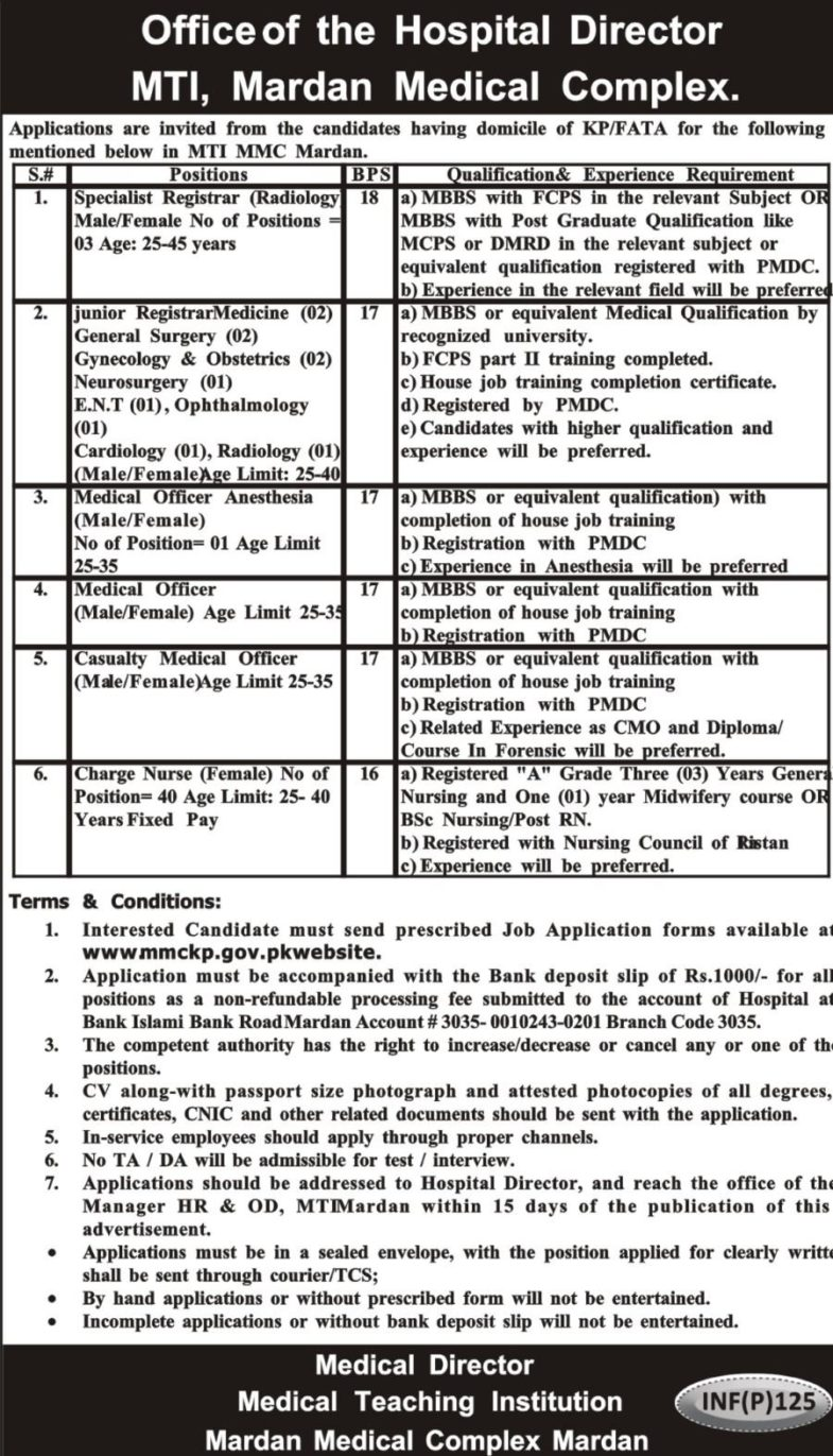 Mardan Medical Complex / MTI KP Jobs 2019 for 57+ Charge Nurses, Registrars and Medical Officers