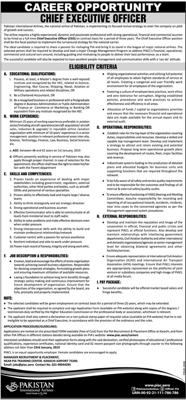 Pakistan International Airlines (PIA) Jobs 2019 for Chief Executive Officer / Management