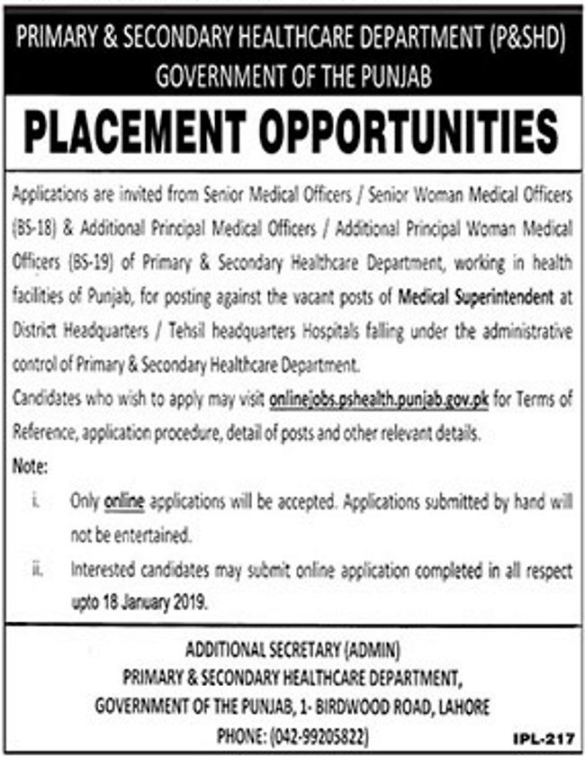 PS Healthcare Department Punjab Jobs 2019 for Medical Superintendents (All Districts/Tehsils)