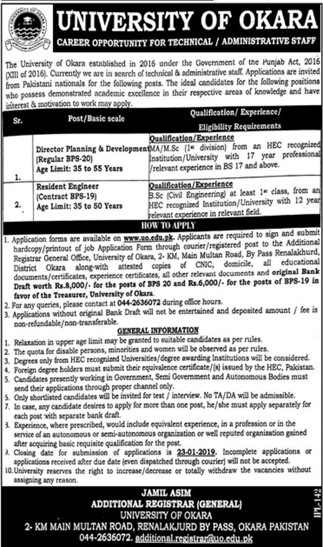 University of Okara Jobs 2019 for Resident Engineer and Director Posts