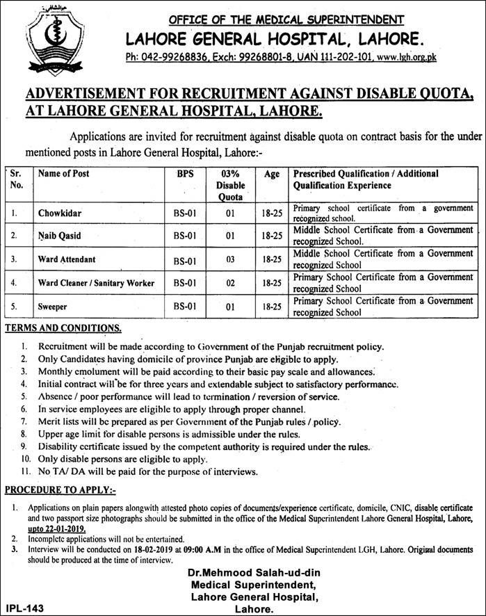 Disabled Quota: Lahore General Hospital Jobs 2019 for 8+ Naib Qasid & Other Support Staff