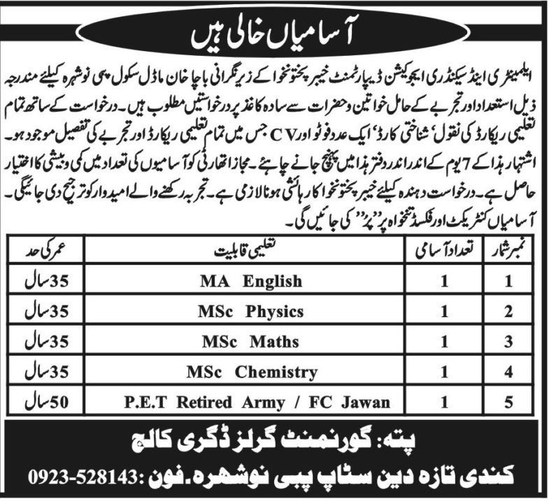 KP Elementary & Secondary Education Department Jobs 2019 for PET & Teachers Posts (Pabbi/Nowshera)