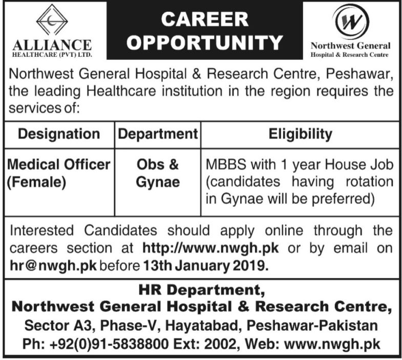 Northwest General Hospital & Research Centre Peshawar Jobs 2019 for Medical Officers (Female)