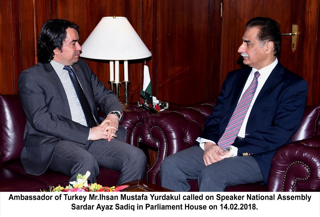 ambassador, turkey, ahsan mustafa, pradakol, meet, speaker, national, assembly, sardar ayaz sadiq