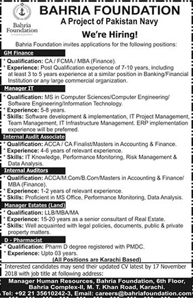 Jobs, In, Bahria, Foundation, Pakistan, Navy ,Project ,07 Nov 2018