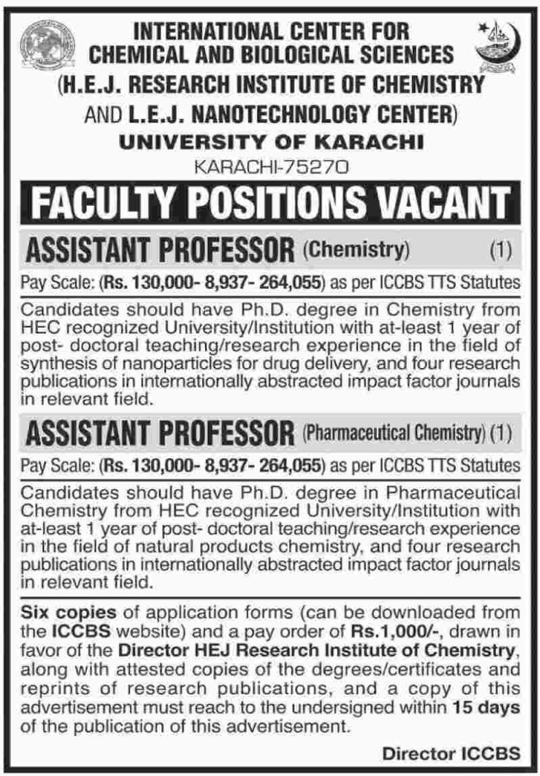 Jobs In International Center For Chemical And Biological Sciences 07 Nov 2018