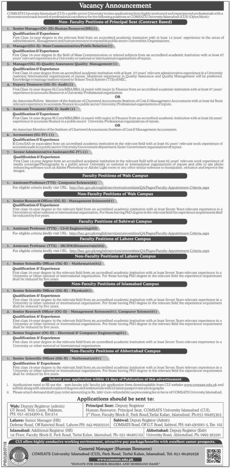 Jobs, In, COMSATS, University, Islamabad, 07 Nov 2018
