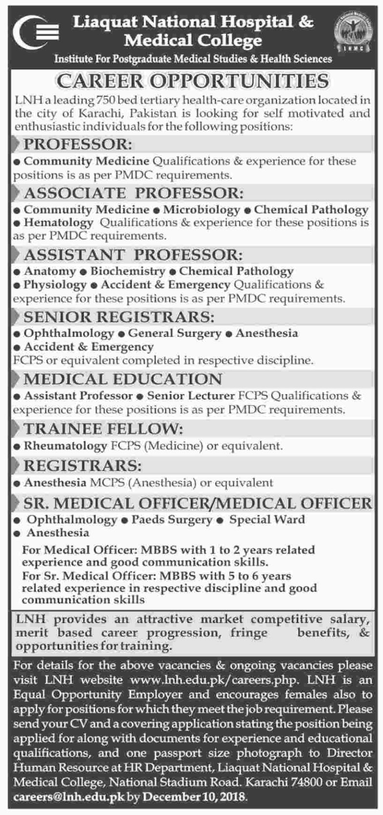 Liaquat ,National, Hospital , College, Jobs, 2019, for, 100+, IT, Admin, HR, Medical, Teaching, &, Other, Categoreis,3, December, 2018