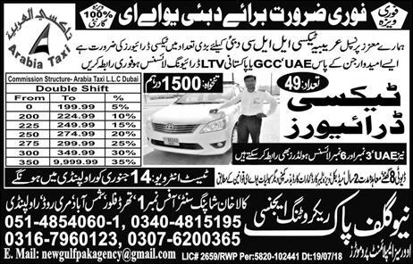 Taxi Drivers Jobs in Dubai & Sharjah Available for 100+ Vacancies