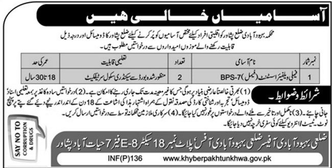 Population Welfare Department KP Jobs 2019 for Family Welfare Assistants (Male/Female) (Multiple Cities)