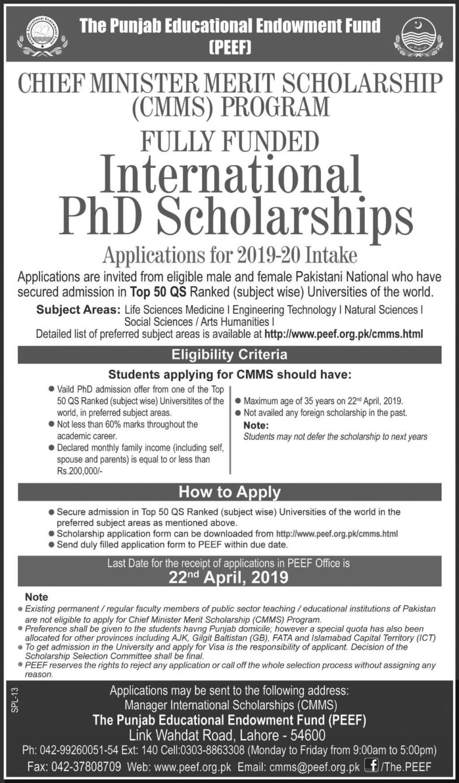 PEEF / CM Punjab Merit Scholarship Program 2019
