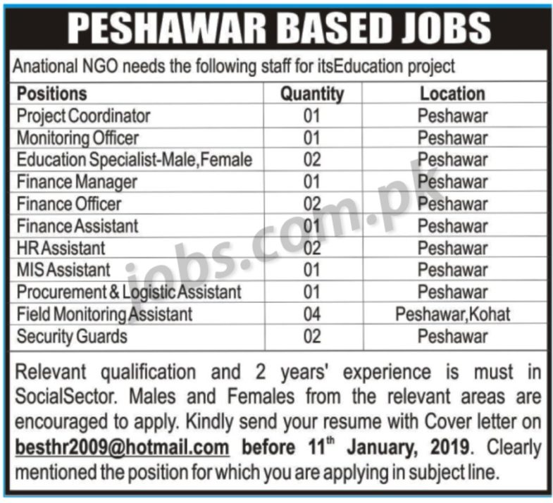 National NGO Jobs 2019 for 18+ HR, Admin, IT, Monitoring, Procurement & Other Posts