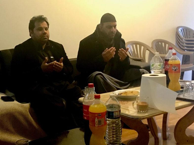 pray, for, uncle, of, malik afzal, and, malik abid, at, mosque, in, paris, after that, haji hussain muzzamil, sibt e muzammil, and, qari farooq ahmed farooqi, visited, his, house, for, condolence