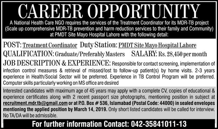 National Healthcare NGO Jobs 2019 for Treatment Coordinator / Graduate