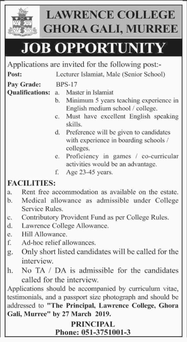 Lawrence College Murree Jobs 2019 for Teaching Faculty