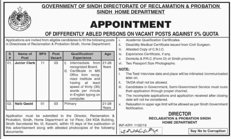 Sindh Home Department Jobs 2019 for 6+ Junior Clerks and Naib Qasid Posts