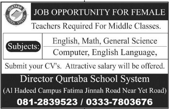 Qurtaba School System Jobs 2019 for Teachers