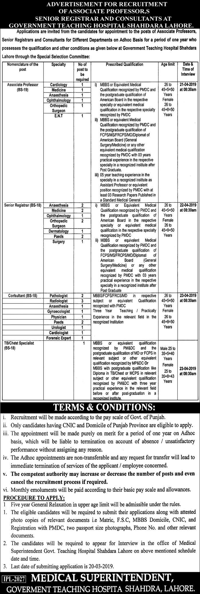 Govt Teaching Hospital Lahore Jobs 2019 for 31+ Medical & Teaching Faculty