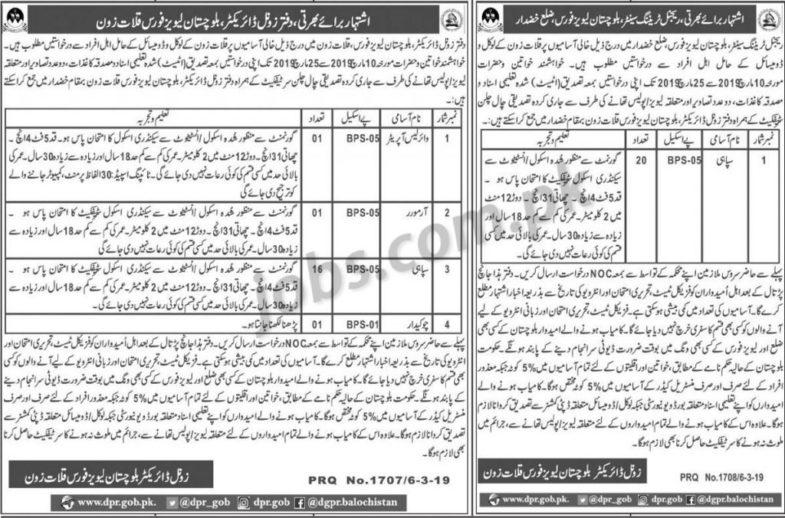 Levies Force Balochistan Jobs 2019 for 39+ Sipahi, Wireless Operator, Armor and Guard (Khuzdar/Kalat)