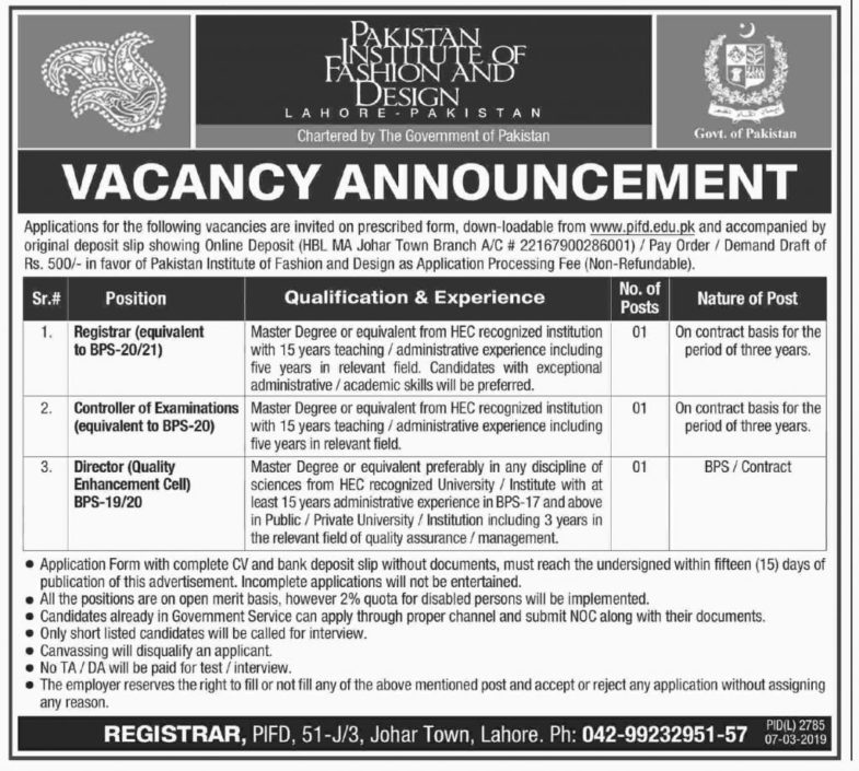 Pakistan Institute of Fashion & Design (PIFD) Jobs 2019 for Registrar, Controller Examination and Director / Management