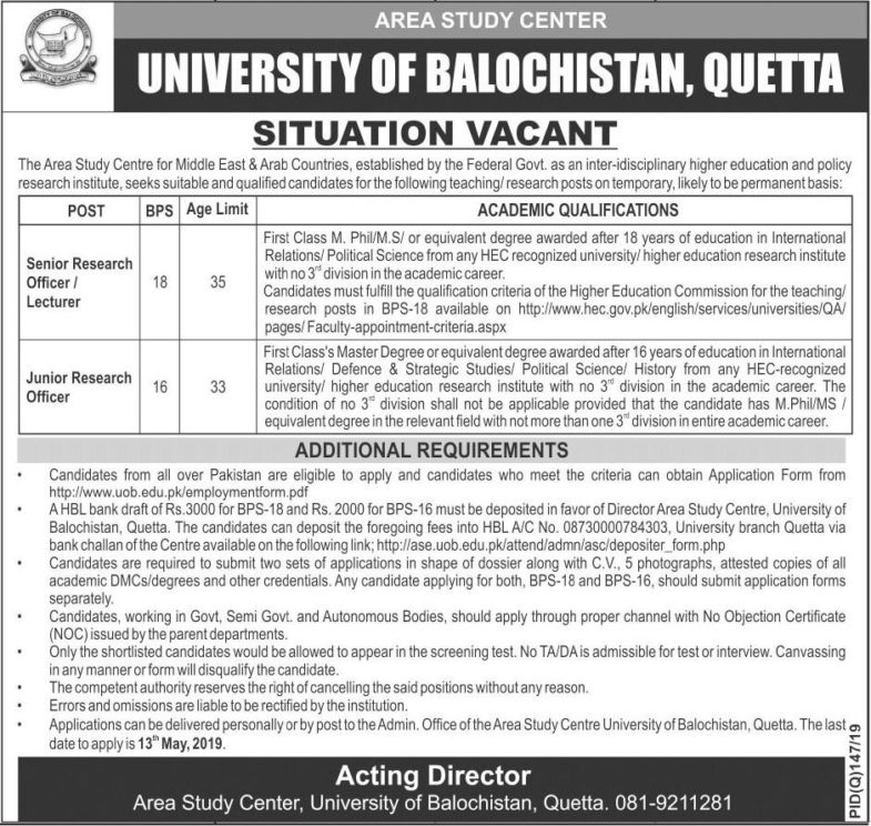 University of Balochistan Jobs 2019 for Research Officers / Lecturer Posts