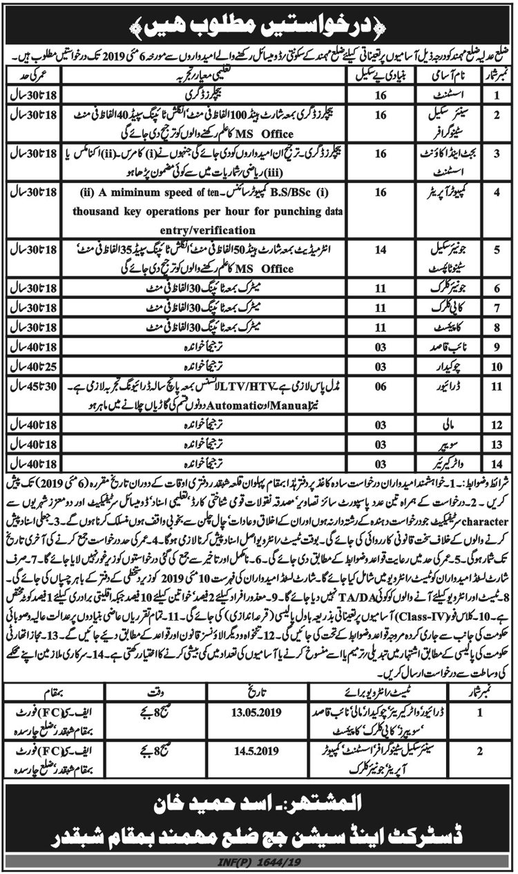 District & Session Judge Mohmand KP Jobs 2019 for 20+ Assistants, Stenotypist/Stenographer, Computer Operators, Accounts, Clerks & Other Posts
