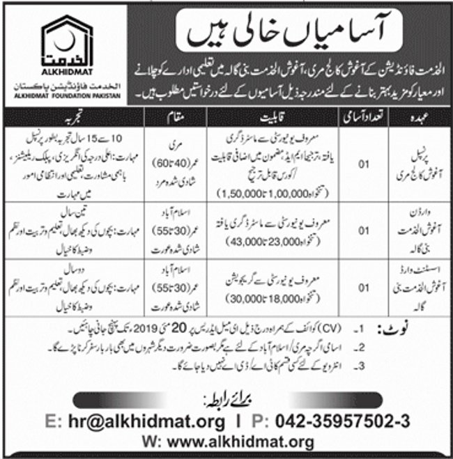 Alkhidmat Foundation Islamabad Jobs 2019 for Warden, Assistant Ward and Principal Posts