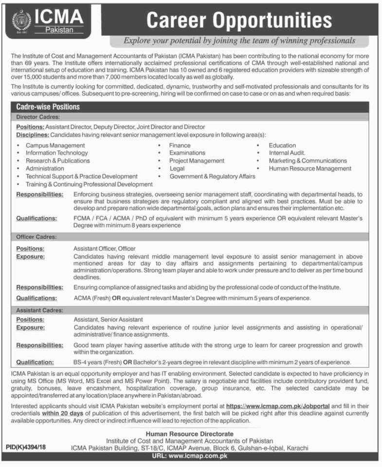 ICMA Pakistan Jobs 2019 for Assistants, Officers, Assistant Officer and Management Posts