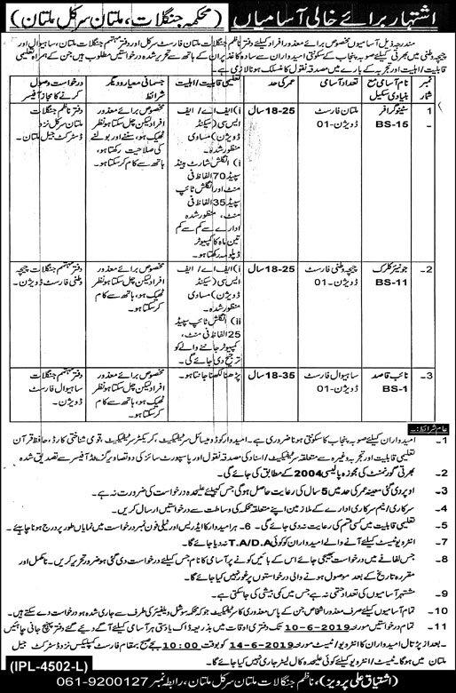 Forest Department Punjab Jobs 2019 for Stenographer, Junior Clerk and Naib Qasid (Multan Circle)