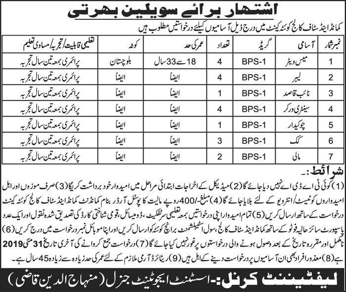Pak Army Jobs 2019 for 19+ Naib Qasid, Mess Waiter & Other Support Staff at Command & Staff College Quetta