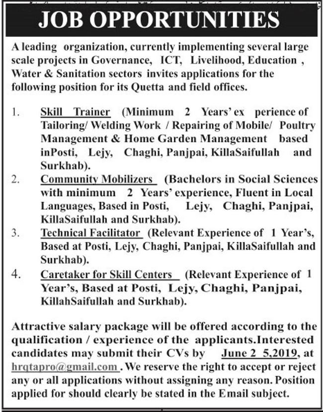 Quetta Organization Jobs 2019 for Trainers, Community Mobilizers, Technical Facilitator and Caretaker Posts