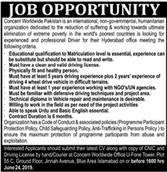 Concern Worldwide Pakistan NGO Jobs 2019 for Driver Posts
