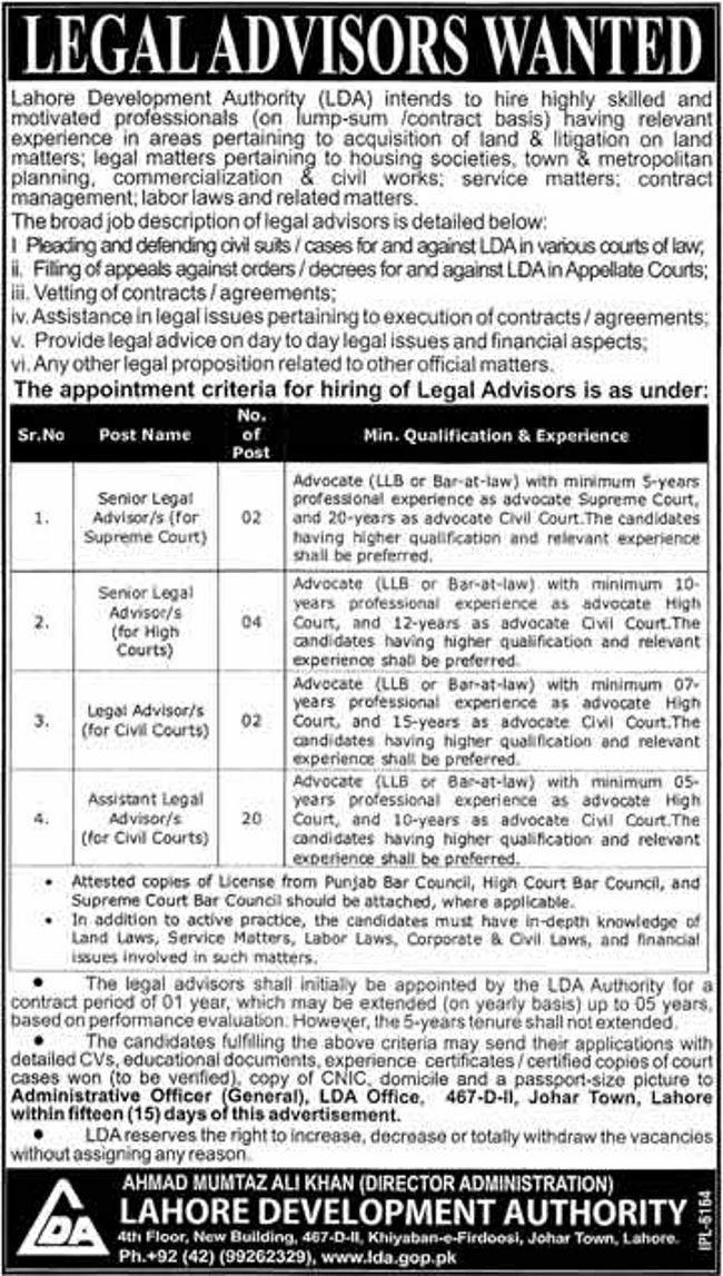 Lahore Development Authority (LDA) Jobs 2019 for 28+ Assistant Legal Advisors / Legal Advisors