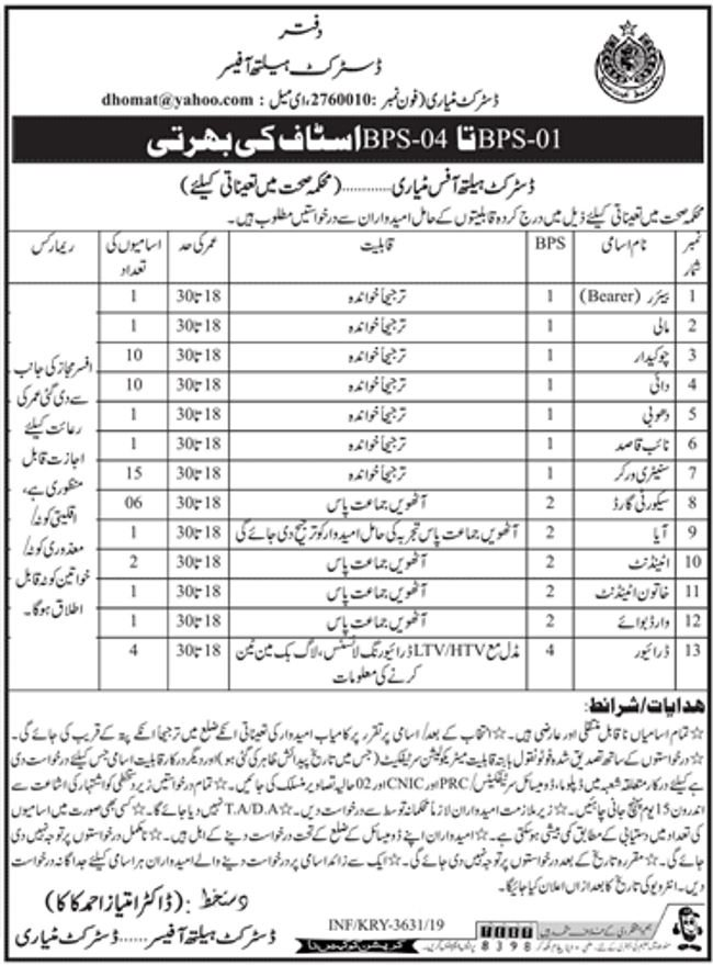 District Health Officer Matiari Jobs 2019 for 50+ Support Staff