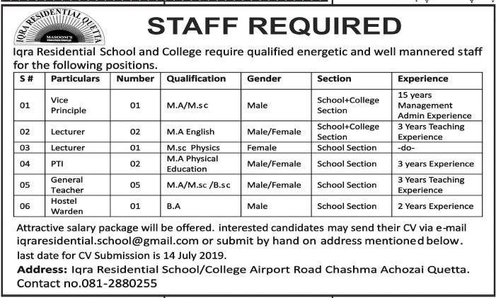 Iqra Residential School / College Quetta Jobs 2019 for 12+ Hostel Warden, PTI, Teachers, Lecturers & Vice Principal