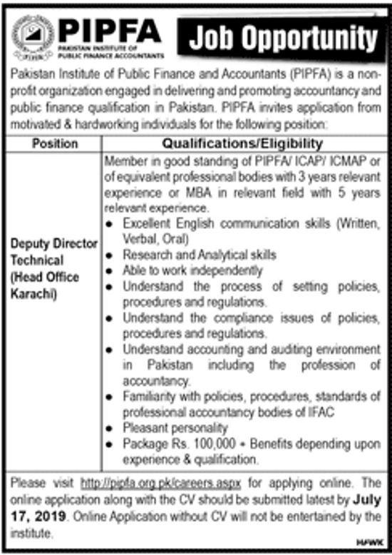 PIPFA Pakistan Jobs 2019 for Deputy Director Technical