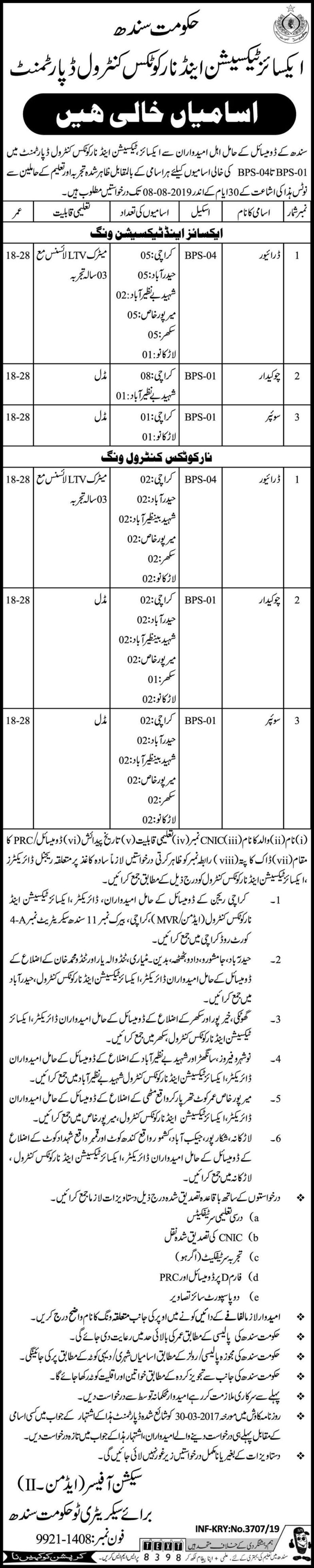 Excise, Taxation & Narcotics-Control Department Sindh Jobs 2019 For 70+ Support Staff Posts