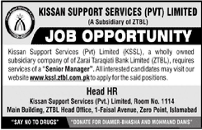 Kissan Support Services / ZTBL Bank Jobs 2019 for Senior Manager