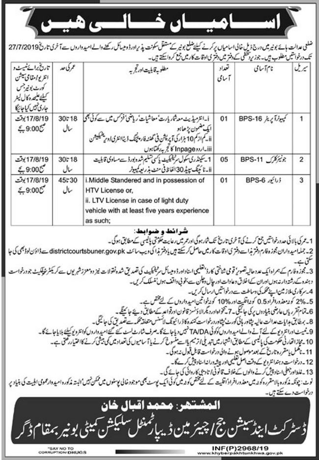 Buner District Court Jobs 2019 for Jr Clerks, Computer Operator and Driver